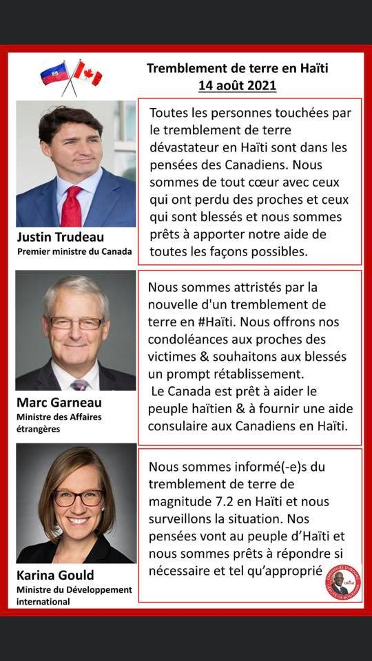 Les autorités canadiennes - séisme
